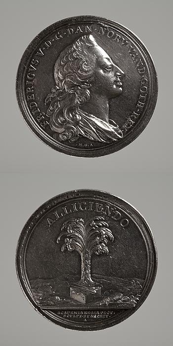 Medalje forside: Frederik 5. Medalje bagside: Palmetræ