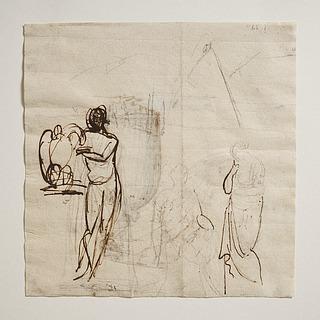 Ganymedes stående med ørnen. Achilleus og Briseis (?)