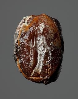 Asklepios med æskulapstav. Hellenistisk-romersk ringsten
