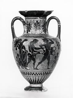 Amfora med Herakles' og Apollons kamp om den delfiske trefod (A) og krigere, der tager afsked (B). Græsk