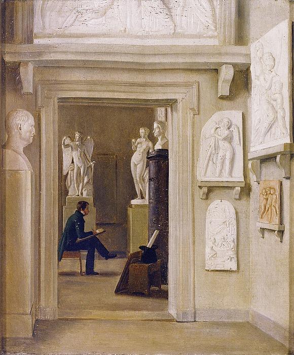 Ubekendt. _Interiør med ung mand der studerer Thorvaldsens skulptur Venus med æblet og Den triumferende Amor._, efter 1828, privateje.