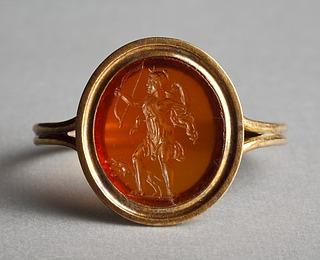Artemis, løbende med bue og pil. Hellenistisk-romersk ringsten