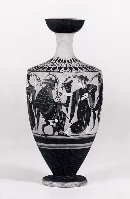 Lekyth med Dionysos blandt silener, mænader og ynglinge. Græsk