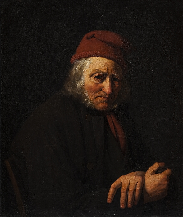 Portræt af gammel sømand med rød hue