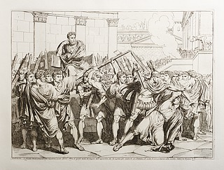 C. Servilio Ahala, Generale della Cavalleria, uccide Spurio Melio, il quale tenta di fuggire dall'apparitore, che lo a preso per condurlo al Dittatore, ed eccita li suoi partigiani alla rivolta (C. Servilio Ahala myrder Spurio Melio)