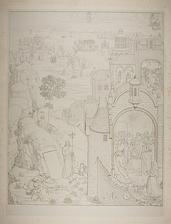 Scener fra Kristi liv efter opstandelen med stifterens kone Katharina van Riebeke, detalje fra Marias syv glæder