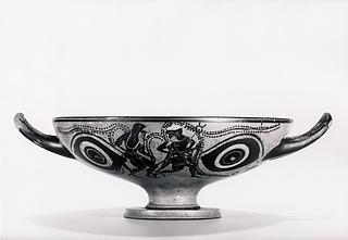 Kylix med øjne, Hermes og en silen (A), to silener med et muldyr (B) og en gorgomaske (tondo). Græsk