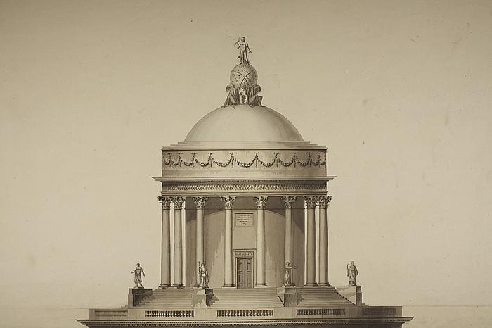 Astronomisk observatorium i romersk stil, facade