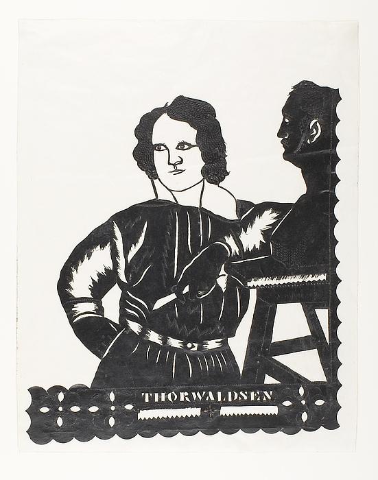 Silhouet af Thorvaldsen i færd med at modellere Vernet-busten