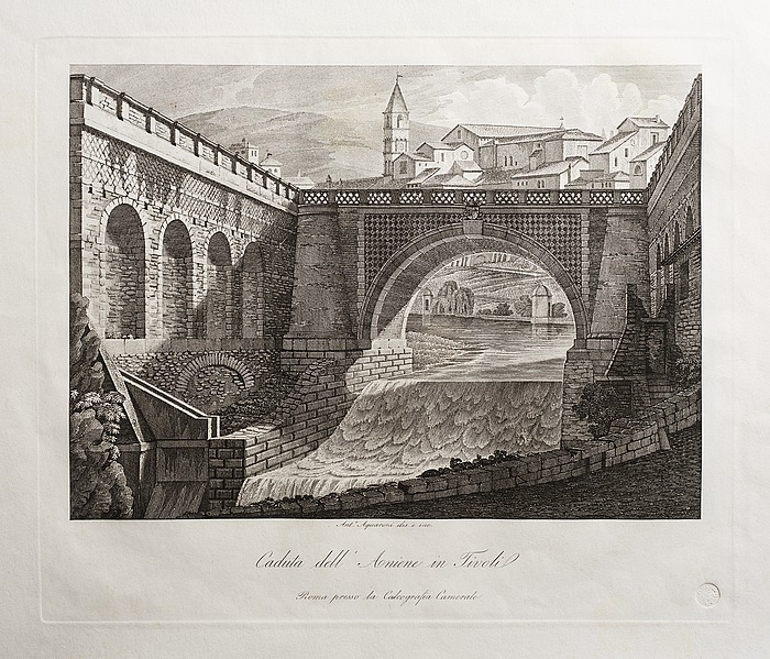 Caduta dell' Aniene in Tivoli (Vandfald i floden Aniene i Tivoli)