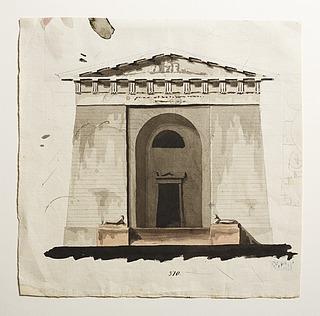 Udkast til et mausoleum eller gravkapel i antik stil, opstalt af facade