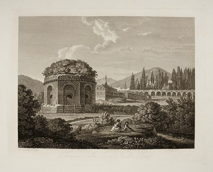 Tempio della Tosse e Villa d'Este ( Tempio della Tosse, Villa d'Este og noget af Villa di Mecenate i Tivoli )