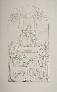 Maria med barnet og Johannes Døberen på en trone omgivet af Sankt Frans (?), evangelisten Johannes (?), Sankt Hieronymus og andre helgener