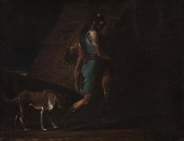 Ossian, fulgt af Fingals hund Bran, bærer sin døde broder Filan