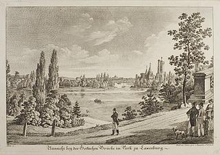 Aussicht bey der Gothischen Brücke am Park zu Laxenburg