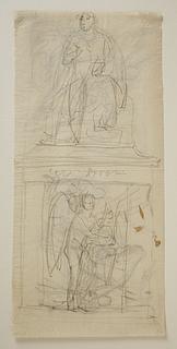 Monumentet over George Gordon Byron med relieffet Poesiens Genius på soklen