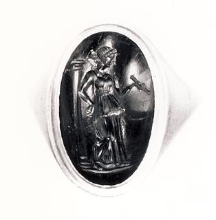 Muse med en skriftrulle. Græsk hellenistisk ringsten