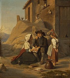 En ung abbate høres i sin lektie af sin søster