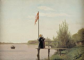Christen Købke. Udsigt fra Dosseringen ved Sortedamssøen mod Nørrebro.