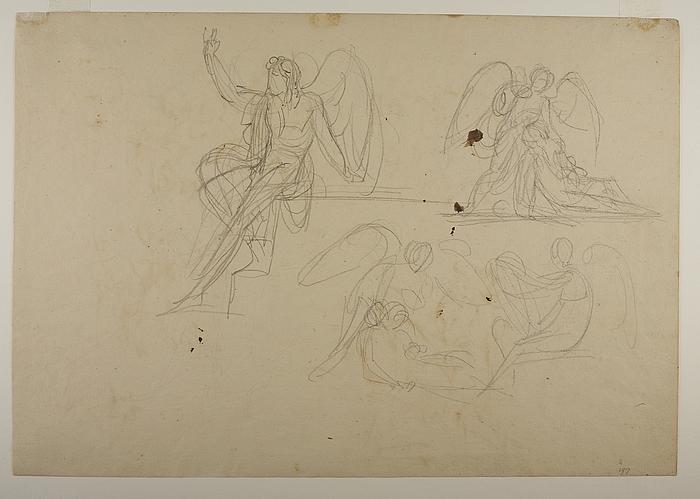 Kvinderne (De tre Marier) ved graven. Victoria med en falden kriger. Amor og Psyche (?)