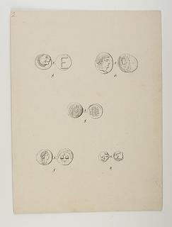 For- og bagside af fem mønter fra Thorvaldsens møntsamling