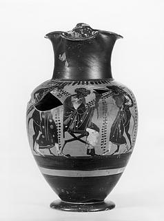 Oinochoe med Dionysos blandt silener og mænader. Græsk