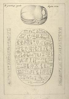 Ægyptisk skarabæ med hieroglyffer