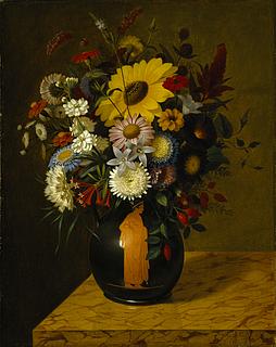 Adolf Senff, En antik terracotta-vase med blomster, 1828, Thorvaldsens Museum, B 161
