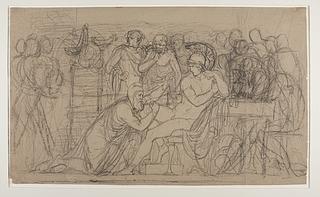 Priamos bønfalder Achilleus om Hektors lig