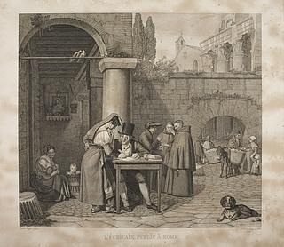 En romersk pige dikterer en gadeskriver et brev til sin kæreste