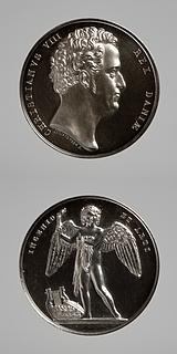 Medalje forside: Christian 8. Medalje bagside: Lysets genius