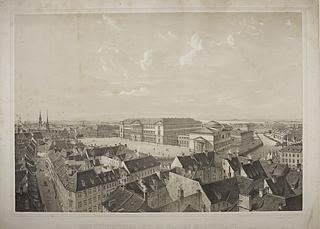 Udsigt fra Nikolaj Tårn mod Christiansborg