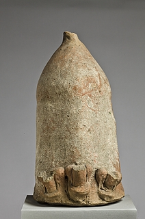 Anatomical votive in the form of a colossal phallus with three smaller phalli. Etruscan-Italian, Thorvaldsens Museum