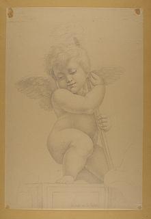 Engel knælende med fakkel