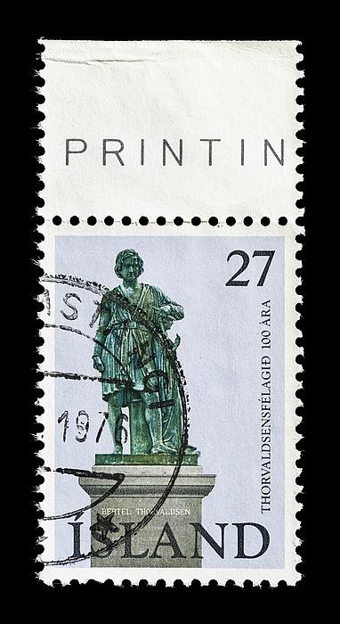 Islandsk frimærke med Thorvaldsens selvportrætstatue
