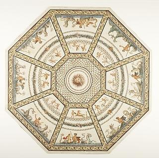 Ottekantet mosaikgulv med Medusahovede i centrum