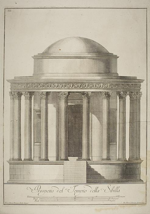 Prospetto del Tempio della Sibilla ( Tempio di Vesta i Tivoli, opstalt )