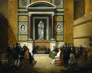 Francesco Diofebi: Åbningen af Raphaels grav i Pantheon 1833, 1836 (Copyright tilhører Thorvaldsens Museum)