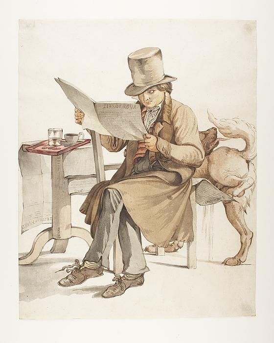 Mand der læser i Diario di Roma i en café i Rom