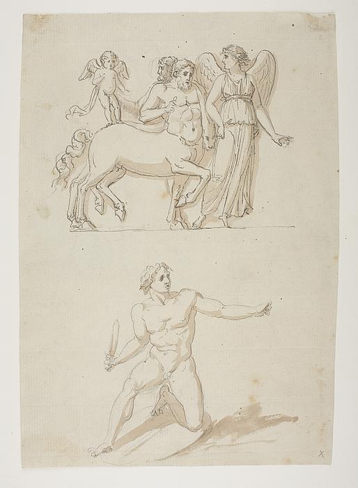 Victoria med to kentaurer og Amor. Knælende kriger