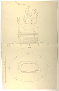 Marcus Aurelius statuen, plan og opstalt