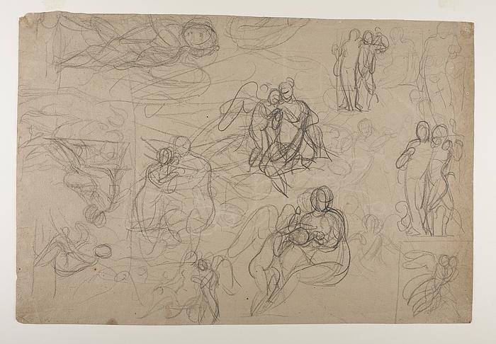 Amor klager til Venus over et bistik. Paris. Bacchus støttet af en satyr. Dagen(?) eller Latona(?)