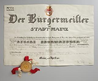 Thorvaldsens æresborgerdiplom fra byen Mainz