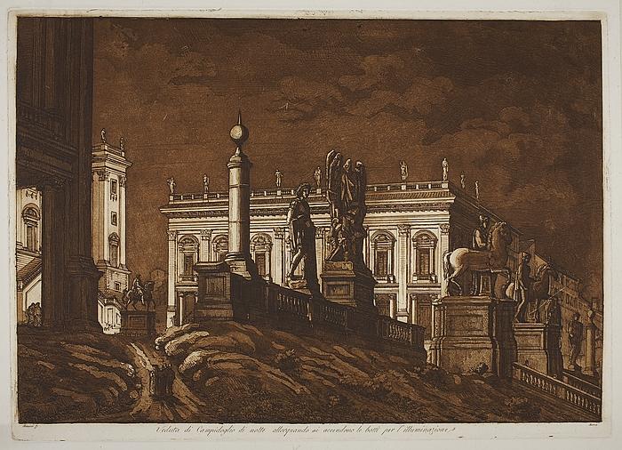 Veduta di Campidoglio di notte allorquando si accendono le botti per l'illuminazione. ( Prospekt fra Capitol i Rom )