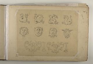 Ornamentale fabeldyr, masker og oksehoveder