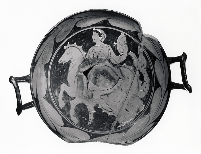 Kylix med laurbærgren (A,B) og nereide på en havhest (tondo). Syditalisk