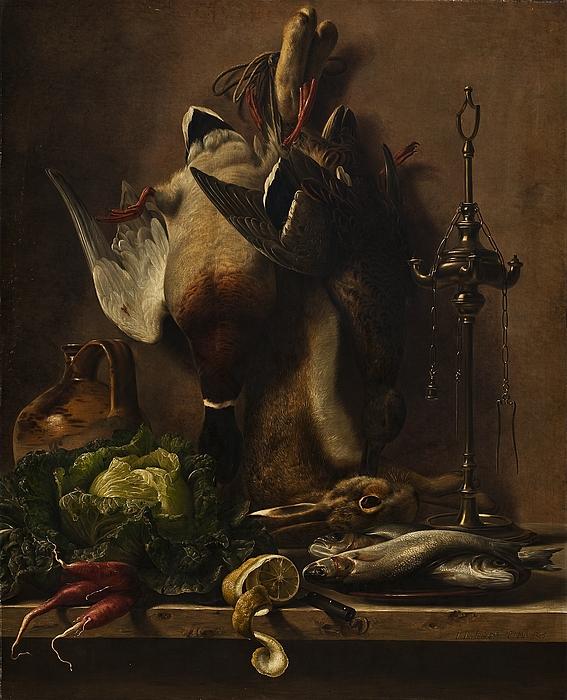 Nature morte med grøntsager og vildt på et køkkenbord