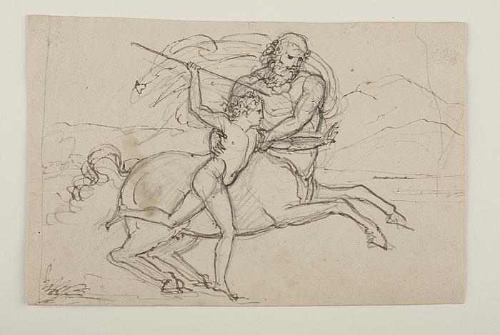 Chiron lærer Achilleus at kaste med spyd