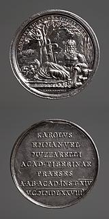 Medalje forside: Tiberflodens gud. Medalje bagside: Indskrift
