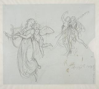 Svævende Erato med Amor. Dansende bacchant og bacchantinde